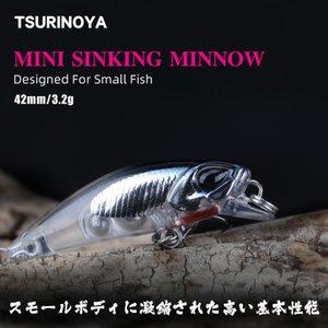 Tsurinoya Leurre de pêche DW29 Naufrage eau Minnow Lure 42mm 3.2g Appât dur artificiel avec crochets de haute qualité Crankbaits Crayon Q0104