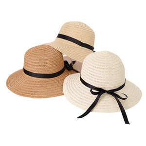 Fashion straw hat with built-in adjustable rope folding carry beach sun cap high quality manufacturers direct sales