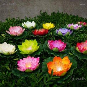 Couronnes de fleurs décoratives Couronnes 12 morceaux de fibre optique artificielle léger léger lotus feuille lis étanche étang fleur de mariage de mariage décoration
