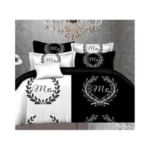 black&white her side his side bedding sets queen size double bed 3pcs bed linen couples duvet cover set 8iTSO