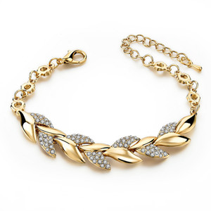 Explosive fashion alloy diamond leaf bracelet female gold leaf bracelet