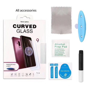 UV Tempered Glass Protecor For Samsung Note 20 ultra 9 8 Galaxy S9 S8 Plus S7 Edge S10 S20 3D Full Liquid Glue Screen Protector with box