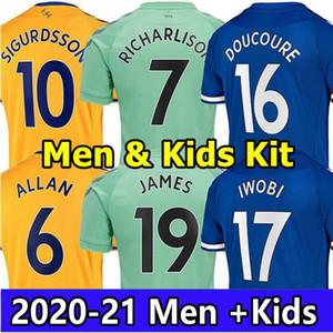 20 21 كرة القدم الفانيلة جيمس ألان دوكور قميص كرة القدم حارس مرمى 2021 كين ريتشارليسون حارس مرمى Sigurdsson Digne الرجال موحدة كيت للأطفال