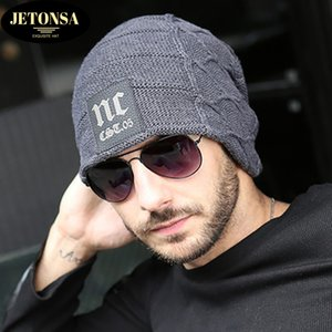 Men's hat winter sports outdoor Korean hedging wool NC letters plus velvet thick warm knitted hat