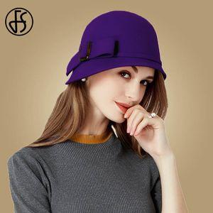 FS Vintage Black Wool Felt Cloche Hat With Bowknot Wide Brim Bowler Winter Fedoras Ladies Yellow Blue Floppy Derby Hats Cap 201015