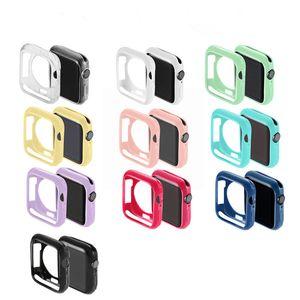 конфеты цвет мягкий TPU случай протектор Крышка для iwatch бампера 38мм 40мм 42мм 44мм Ультра-тонкая рамка полоса мягкая оболочка с OPP сумки из g_tech