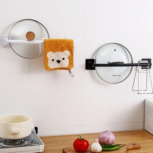 Adhesive Wall Mounted Bathroom Towel Bar Shelf Rack Holder Hanging Hanger Pot Cover Lid Organizer Kitchen Storage Accessories