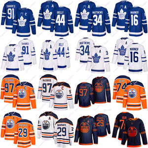 Toronto Maple Leafs Jersey 91 Tavares 16 Marner 34 Matthew 44 Rielly jerseys Oilers 97 McDavid 74 ours 29 Draisaitl hockey Jerseys