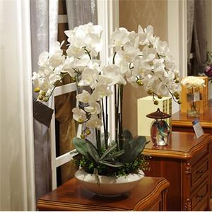 Artificial big size PU real touch hand feeling orchid flower arrangement bonsai flower only no vase luxious flower bouquet 1022