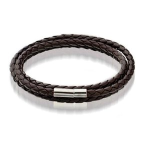 Black Brown Stainless Mens Bracelets Magnetic Leather Mesh Bangle Steel Clasp Double Wrap Wristband Beautiful Titanium B