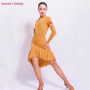 Novo Adulto Latin Dance Dress Sexy Hollow Out Ruffle Senhora Dança Vestidos Mulheres Latin Ballroom Waltz Dance Practice Roupas1