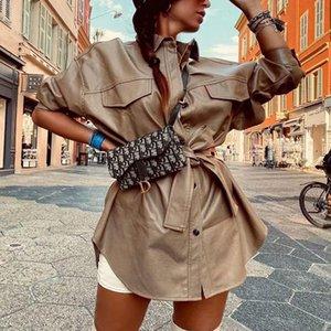 ZXQJ Vintage Mujeres elegantes PU Chaquetas de cuero 2021 Primavera-otoño Moda Streetwear Abrigo Casual Femenino Chic Outwear