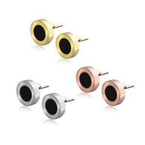 Hohe polierte heiße Verkauf Mode Design Titanium Stahl Ohrstecker Schwarz Weiß Schönheit Ohrringe Für Frauen Schmuck Geschenk Großhandel