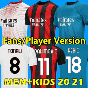20 21 AC Milan Fussball Jersey 2020 2021 Ibrahimovic Football Hemd Tonali Hauge Bennacer Rebic Camiseta de Futbol Romagnoli Maglia Calcio