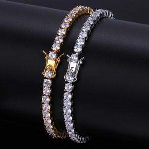 4mm Bling Zircon Bracelets Fashion Gold Silver Color Tennis Chain Bracelets Luxury Hip Hop Men Women Bracelets