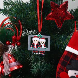 2020 Christmas Love Family Pingente Photo Frame DIY Nome Ornamento Bênção Árvore de Xmas Hanging Pingentes Decoração do Partido BWA2056