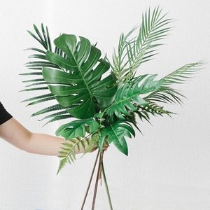 3pcs Green Artificial Plant Branch Tree Fake Palm Leaves Fern Leaf Monstera Home Party Wedding Garden Decoration Tropical Leaves