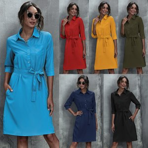 LUOQI's best selling autumn   winter 2020 women's fashion solid dress with 1   2 sleeve belt