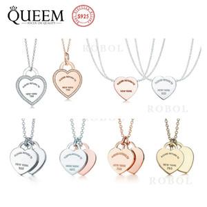 tiff clásico amor moda colgante collares para las mujeres niñas boda cumpleaños regalo collar original logotipo 925 plata tiff collar colgante
