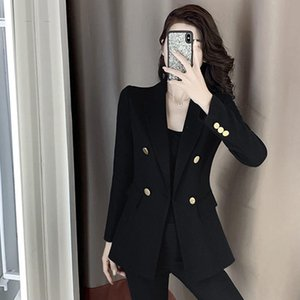 2021 Women Autumn New Long Sleeves Double Breasted Suit Jacket Coats Female Loose Oversized Solid Color Office Lady Blazers S314