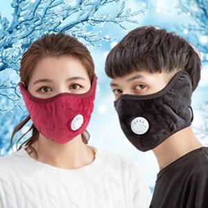 Winter Soft Plush Warm Valve Respirator Designer Face Masks Unisex Adult Ear Mask Dust-Proof Washable Reusable Cycling Face Mask FY9267SBB