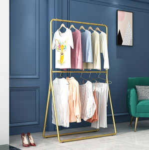 Clothing rack clothing store display stand nano gold floor type double layer clothes rack men's and women's iron clothes hanger