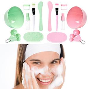 DIY Medium 9 in 1 Mask Bowl Spatula Brush Set Set di strumenti di miscelazione Set di kit per la produzione del viso