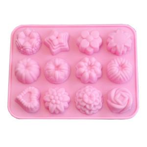 Silikon-Schokoladenseife-Formen-Eisgitter-Gitter-Gitter-Formblume Liebes-Herz-Muster-Kuchen-Formen Easy demformen 3 4fj f2