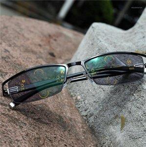 Mezza cornice Progressive Occhiali multifocali Transizione PhotoChromic Lettura Occhiali da uomo Punti per lettore Vicino alla vista FML1