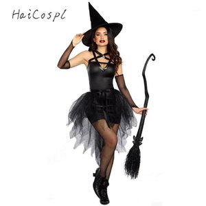 Fantasy Black Witch Fancy Dress Up Party Dress Карнавал Производительность Одежда Хэллоуин Костюм Костюм Костюм Костюм для взрослых Cosplay1