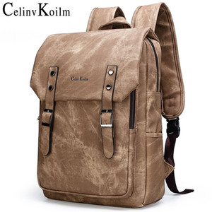 "Celinv Koilm Anti theft Men 15.6"" Laptop School Bag Men Leather Backpacks Travel Multi Male Mochila Military camouflage style 201006"