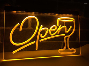 LB536- Skript Open Glass Cocktails Bar LED Neonlichtschild Home Decor Crafts1
