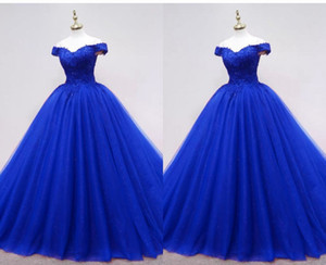 2021 Bling Sequined Tulle Ball Gown Prom Dresses Off the shoulder Royal Blue Applique Floor Length Quinceanera Party Evening Formal Dress