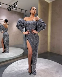 Unique Design Puff Long Sleeve Prom Gown Arabic Dubai Style Off The Shouler Side Split Formal Evening Dress Custom Made