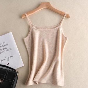 Branché neuf attyyws cachemire camisole tricoté dames couleur solide mode mince mode pulls de laine courte pull court
