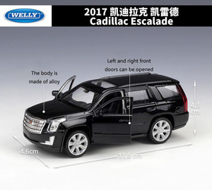 Diecast 1:36 Scale Cadillac Escalade SUV Simulator WELLY Pull Back Model Metal Alloy Toy Car Vehicle For Kids Gifts