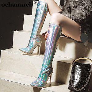 Femme 12CM Stiletto Talons Pointu genou Toe Haut Bottes Femmes Femme Holographic Silver Mirror Gold Party Club de Bottes de danse Chaussures