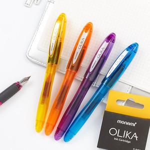 Korean Monami OLIKA Transparent Candy Color Ink Fountain Pen Set 0.5mm Meduim Fine Nib School PVC Plastic Sign Pen Ink Cartridge1