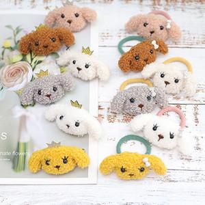 Korean children's Princess hair accessories Cartoon plush puppy crown girls hairpin Fashion Cute Dogs Bowknot Kids Party hair band S103