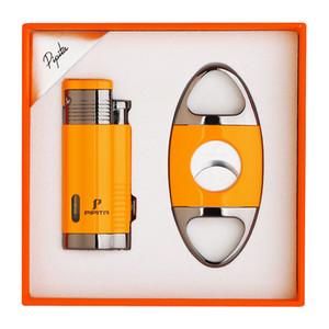 PIPITA Cigar Lighter and Cutter Set Windproof Refillable Butane Torch Lighter 3 Jet Flame Lighters