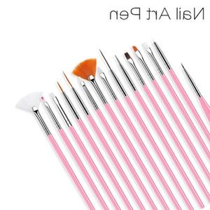 15pcs set Nail Art Brushes Manicure Brush Set Tools White Handle Painting Pen for False Nail Tips UV Nail Gel Polish Brushes