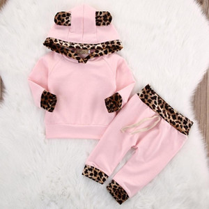 Baby Girl Clothes Leopard Todder Girls Hoodie Sweater Pants 2pcs Sets Long Sleeve Girl Two-piece Suit Designer Baby Clothing