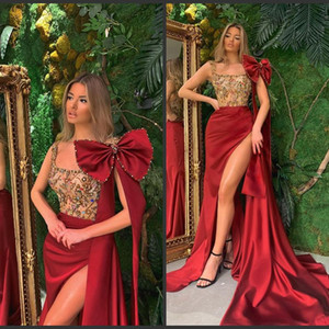 Elegant Evening Dresses Scoop Neck Lace Beads Sexy High Side Split Prom Gowns Custom Made Backless Sweep Train Special Occasion Dress