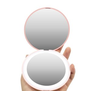 LED Mini Makeup Mirror Portable Pocket Makeup Mirror 2X Magnification Foldable Travel Lighting Mirror New year Gift
