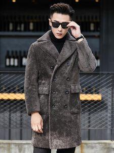 Casaco de Pele real Men coreana tosquia de ovelhas casaco de lã Suede Leather Jacket Man Double-sided usar longo Jacket YC1991 KJ1265