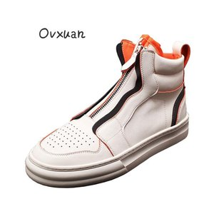 OVXUAN Celebrity Orange Ankle Boots Men Autumn Breathable Gauze Mesh Casual Sport Boots Men Flat Shoes High Top Walking Sneakers