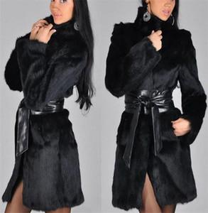Women's Fur High Imitation Mink Coat Black Collar Belt Personality Trend Overcoat European American Autumn Winter Windbreaker