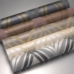 European style gold curve stripe non-woven living room TV background wall paper bedroom wallpaper 53cm * 9.5m