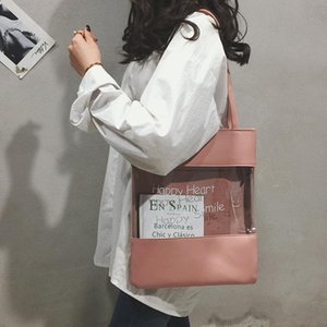 Favocent New Fashion See Through Shoulder Bag Large Capacity Totea Canvas Bags Letter Print Ladies Purses Handbags