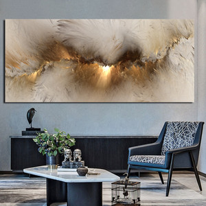 Grey Yellow Cloud Abstract Oil Painting Think Independe Wall Picture for Living Room Canvas Modern Art Poster and Print